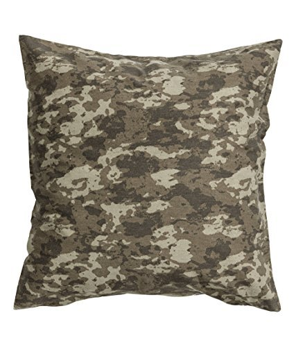 (Camouflage Cushion Cover Accent Decorative 100% Cotton Twill Army Camo Khaki Green Throw Pillow Cover Cushion 20-by-20 inch)