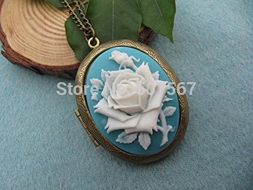 Rose Cameo Locket Necklace Love Rose Cameo Jewelry Victorian Style Antique Gift Woman idea Steampunk Style
