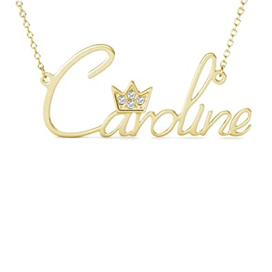 ecb0a51b01136 Custom Name Necklace Necklace with Crown 925 Sterling Silver Personalized  with Any Name for Her Women…