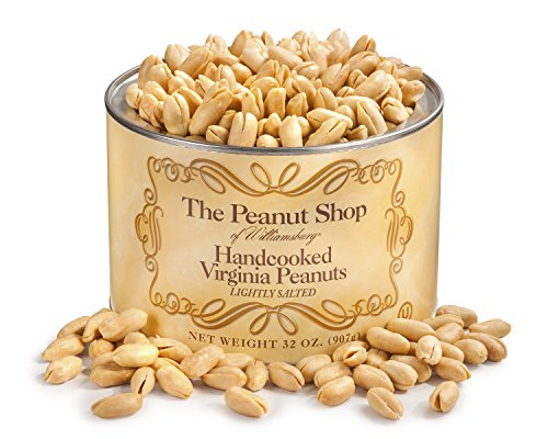 The Peanut Shop of Williamsburg Handcooked Virginia Peanuts, Lightly Salted, 32 Ounce (Extra Large Peanuts Tin)