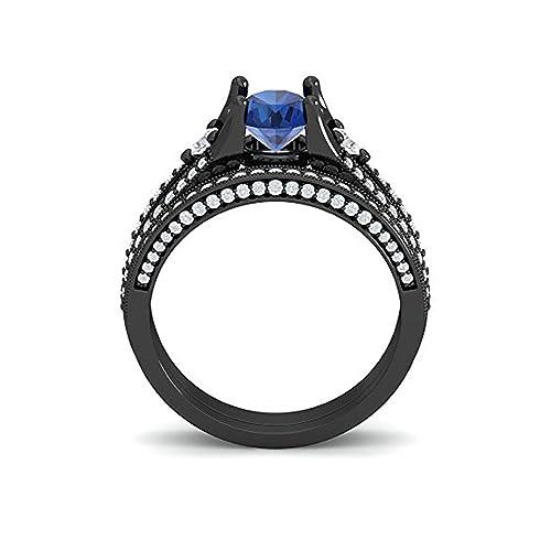Mejor compromiso anillos de boda en 3,50 CT circonita azul corte redondo cristal montado