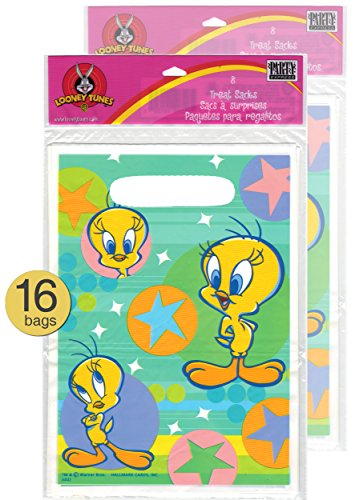 Set of 16 - Baby Looney Tunes Party Supplies - Looney Tunes Party Bags - Looney Tunes Treat Bags - Tweety Superstar Design
