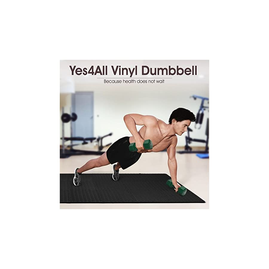 Yes4All Deluxe Vinyl Coated Dumbbells (Sold in Pair) Multi Weight Size & Color Available