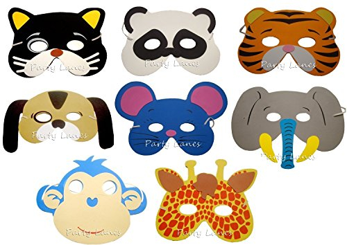 8 Assorted Animal Foam Masks - 2