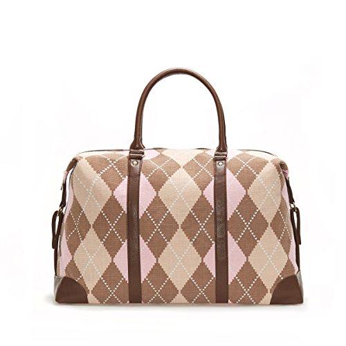 Lulu Dharma Argyle Duffle Bag, Weekender Bag Overnight Travel Tote Bag MSRP $99