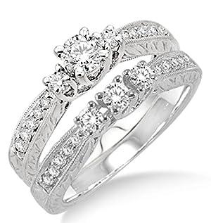 1.00 carat Antique Bridal set with Round Cut diamond in 10k White Gold