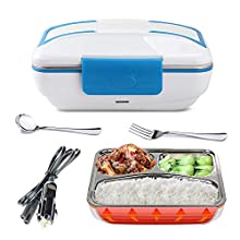 LOHOME Electric Lunch Box - Insulated Self Heating Lunch Box Bento Meal Heater Portable Car Food Warmer Stainless Steel Lunch Containers with Car Plug in Function (Blue.)