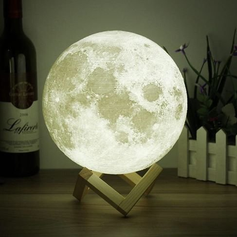 Wooden Mount (Moon Light - 3D Printing Moon - Stepless Dimmable - Moon Lamp Shade - Warm and White Touch Control Brightness with USB Charging - Moon Decor - Lunar Night Light with Wooden Mount - Moon Gifts 5.9 Inch)