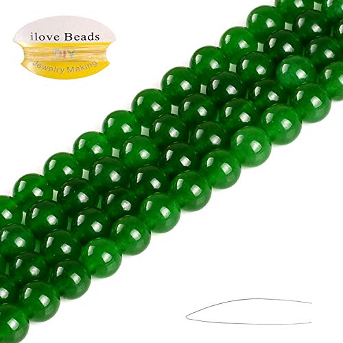 ILVBD 4/6/8/10/12/14MM Natural Dark Green Round Dyed Jade Stone Loose Beads for Jewelry Making (Dark Green, ()