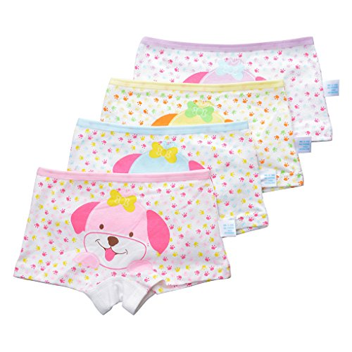 Little Girls Hipsters Cotton Underwear Set Princess Panties Puppy Printed Kids Boyshorts Pack of 4 Size L/6-8 Years