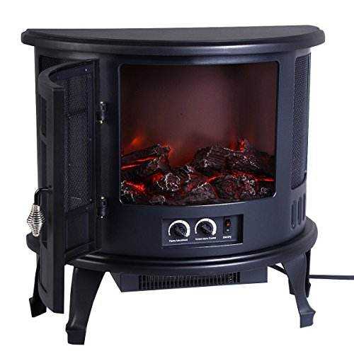 Free Standing Electric 1500W Fireplace Heater Fire Flame Stove Wood Adjustable - Compact Design Great for All Indoor Spaces Including Corners - Adjustable Flame Brightness Compact Corner Electric Fireplace
