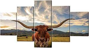 5 Piece Animal HD Painting Canvas Prints Texas Longhorn Steer in Rural Utah Giclee Artwork Modern Framed and Stretched Wall Art Painting for Living Room Decor - 60''W x 32''H