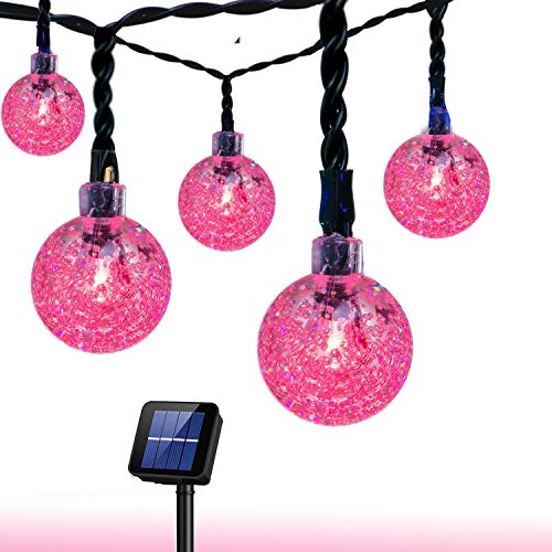 (Bolansi Solar String Light 20 ft 30LED Crystal Ball Waterproof String Lights Solar Powered Fairy Lighting for Garden Home Landscape Holiday Decorations(Pink))