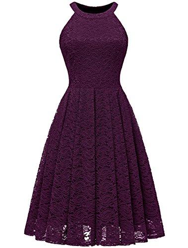 MODECRUSH Womens Halter Neck Formal Cocktail Party Floral Lace Wedding Midi Dress S Grape ()