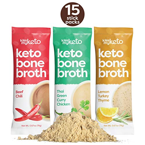 Kiss My Keto Bone Broth Powder Travel Packets - Collagen Protein (9g) + MCT Oil, 18 Amino Acids | Low Carb Variety (15 Pack) Turkey, Chicken & Beef | Instant Bone Broth Soup - Single Servings