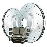 2008 08 2009 09 2010 10 Ford F250 Super Duty (Rear Rotors + Ceramic Pads)-Silver Zinc Drill