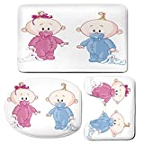 3 Piece Bath Mat Rug Set,Gender-Reveal,Bathroom Non-Slip Floor Mat,Cheerful-Boy-and-Girl-Children-with-Bunny-Pacifiers-Twins,Pedestal Rug + Lid Toilet Cover + Bath Mat,Pale-Blue-and-Pink-Peach