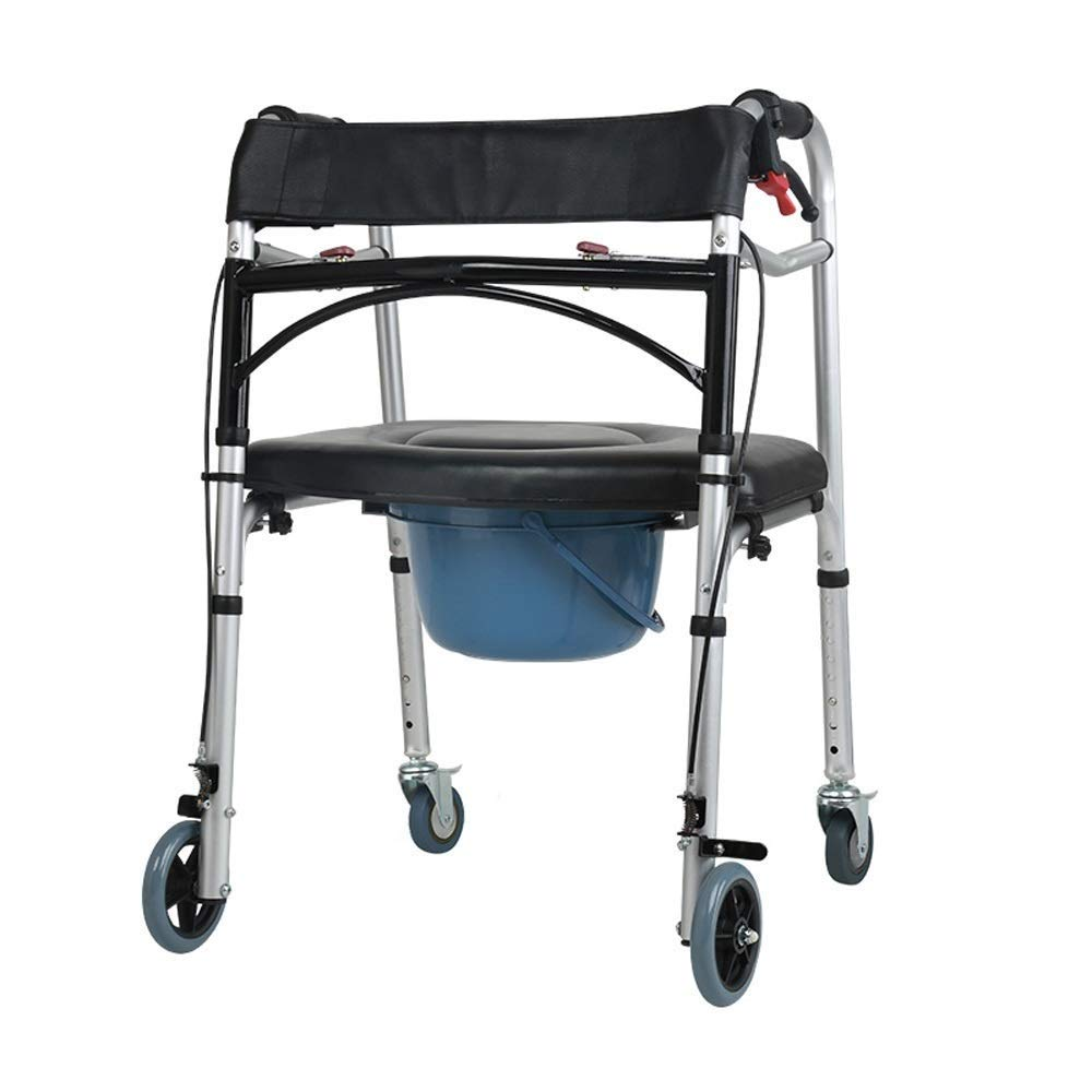 Foldable Walker,Shower Transport Chair Commode Chair for Toilet Shower Chair with Wheels Rolling Shower Chair with Padded Toilet Seat for Handicap and Seniors