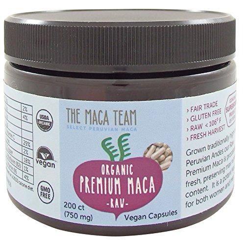Certifié Bio Maca Premium Capsules - Crus, Frais de Récolte, Du Pérou, du Commerce Équitable, sans Ogm, sans Gluten et Vegan - 750 Mg, 200 Ct