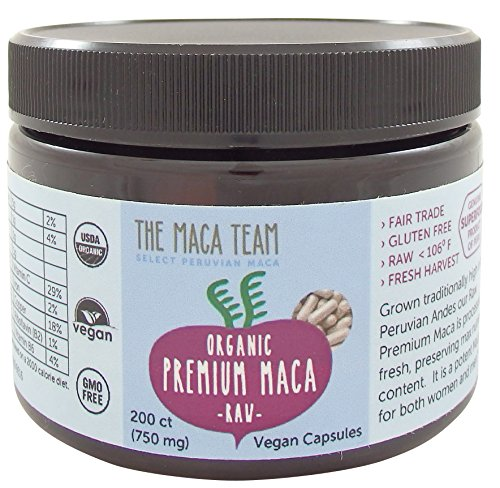 Certified Organic Premium Maca Capsules - Raw, Fresh Harvest