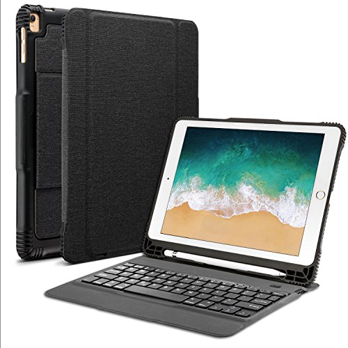 """OMOTON Detachable Keyboard Case for New iPad 9.7"""" 2018&2017, iPad Pro 9.7, iPad Air 2/Air, Ultra-Thin Bluetooth Keyboard Case with Built-in Stand and Pencil Holder, Lightweight, Black"""