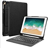 "OMOTON Detachable Keyboard Case for New iPad 9.7"" 2018&2017, iPad Pro 9.7, iPad Air 2/ Air, Ultra-thin Bluetooth Keyboard Case with Built-in Stand and Pencil Holder, Lightweight, Black"