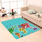 Nalahome Custom carpet ids Maps Decor Collection America Africa Asia Australia Pacific Indian Atlantic Ocean Image Blue area rugs for Living Dining Room Bedroom Hallway Office Carpet (5' X 8')