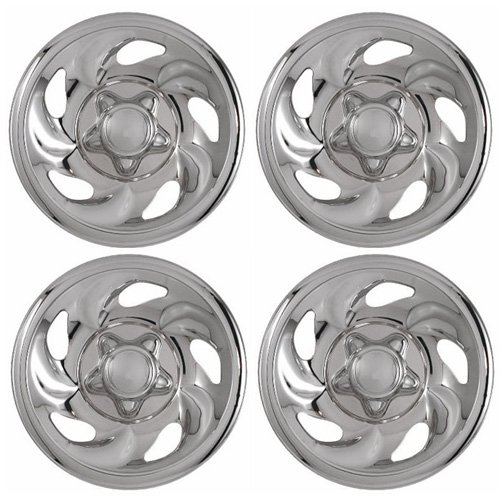 Set of 4 Chrome Wheel Skin Hub Covers With Center For Ford ('97 – '03 F150) & '97 – '00 Expedition 16×7 Inch 5 Lug Steel Rim – Aftermarket: IMP/01X