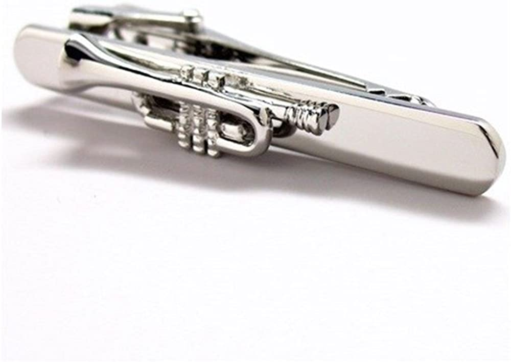 Procuffs Trumpet Music Musician Teacher Tie Clip Gold Blk Wedding Bar Clasp