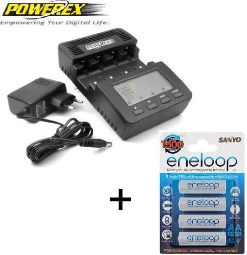 Powerex WizardOne - Pack de 4 pilas AA Sanyo Eneloop y cargador: Amazon.es: Electrónica