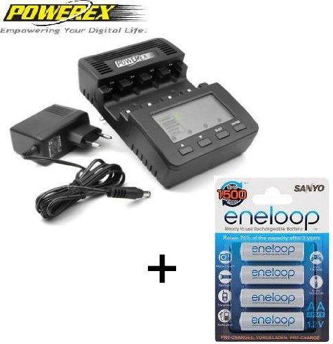 Powerex WizardOne - Pack de 4 pilas AA Sanyo Eneloop y cargador
