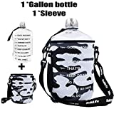 QuiFit 1 Gallon Water Bottle Reusable Leak-Proof Drinking Water Jug for Outdoor Camping BPA Free Plastic Sports Water Bottle with Daily Time Marked (Clear+Bag)