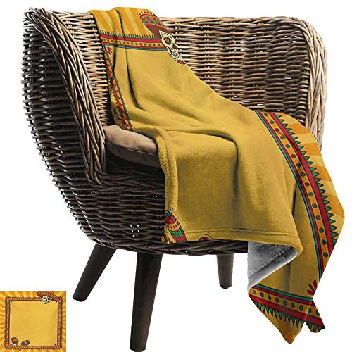 BelleAckerman Ultra Soft Flannel Blanket,Fiesta,Frame Pattern with Skull Sombrero and Maracas Mexican Elements Geometric,Marigold Red Green,Lightweight Microfiber,All Season for Couch or Bed -