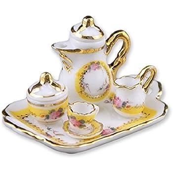 Reutter Black Rose juego de té en la bandeja 1:12 Porcelana Casa De Muñecas En Miniatura