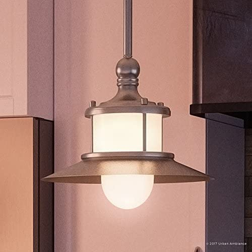 Luxury Nautical Indoor Hanging Pendant Light, Small Size 8 H x 9.5 W, with Coastal Style Elements, Hooded Design, Pretty Brushed Nickel Finish and Acid Etched Glass, UQL2531 by Urban Ambiance