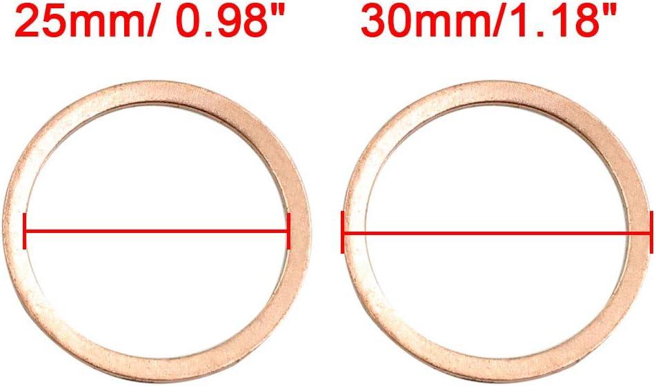 sourcing map 10pc 25mm Dia Interne rondelle cuivre /étanch/éit/é Joint Auto