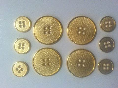 14 Kt Plated Gold Metal Tailored Fashion Buttons SET for Dress and Suits 10pc. - Design Metal Fashion