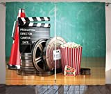 Ambesonne Movie Theater Curtains, Production Theme 3D Film Reels Clapperboard Tickets Popcorn and Megaphone, Living Room Bedroom Window Drapes 2 Panel Set, 108 W X 63 L Inches, Multicolor