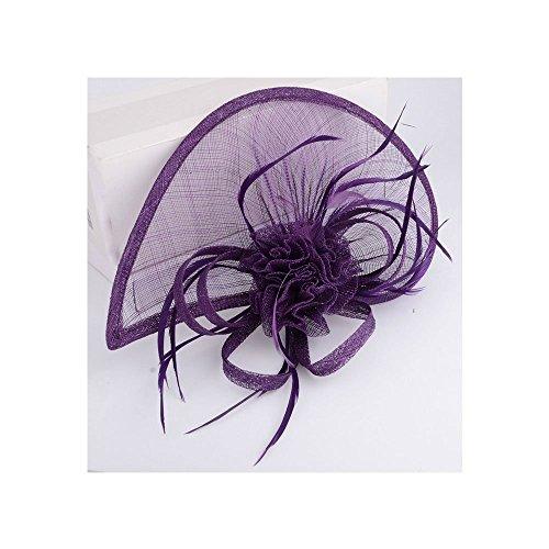 LeahWard®sac de femme Styliste modéliste Fascinator Hat Hair Accessories Wedding Hen Fête qualité Flower Feather Headband / Comb (Violet avec Headband & Clip)