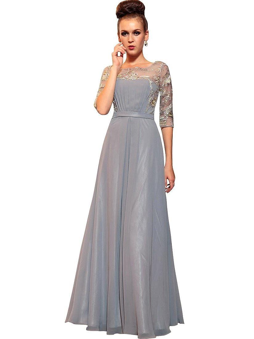 Topwedding Damen Brautkleid Gr. Large, Silber - Silbergrau: Amazon ...