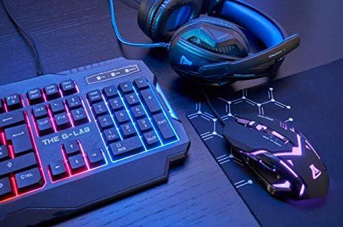 The G-Lab Combo Argon – Pack Gaming 4 en 1 - Teclado Gaming QWERTY – Incluye Ñ - Retroiluminado, Ratón Gaming de 3200 dpi, Auriculares Gaming, Alfombrilla de Ratón Antideslizante – PC