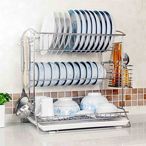 Hyun times Dishwashing stainless steel 41 31 43cm three layers of leaking kitchen utensils ( Color : With cage ) by Hyun times Bowl shelf