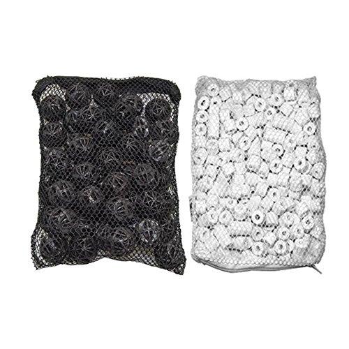 - Aquarium Filter 50 Piece Ceramic Rings Plus Bio Balls in Media Bags for Aquarium Canister, 500 g