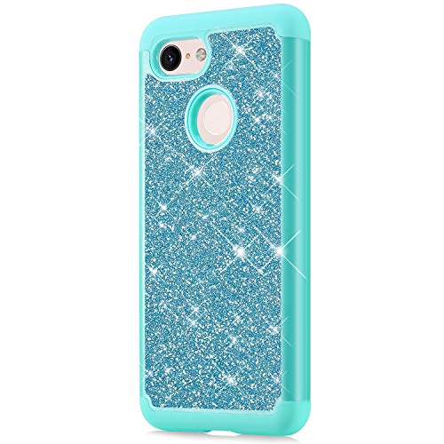 Price comparison product image ikasus Case for Google Pixel 3 Bling Case, Glitter Sparkle Bling Full-Body Protection Heavy Duty Hybrid Shockproof Defender Hard Shell Silicone Rubber TPU Cover Case for Google Pixel 3 Cover, Green