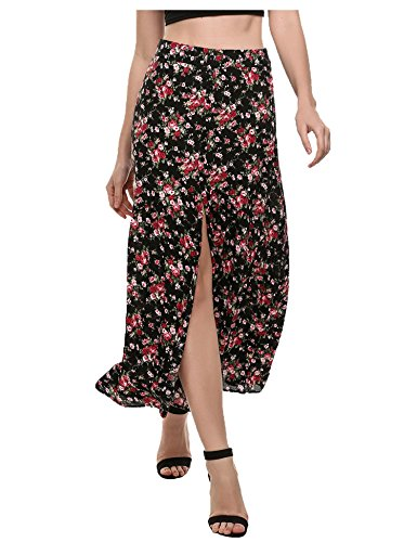 Zeagoo Women's Bohemian Style Split Front Button Floral Print Maxi Beach Skirt Black S