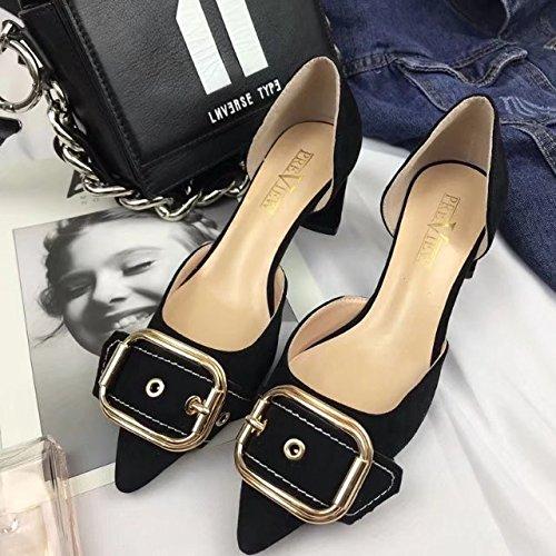 de Zapatos plana Mujer boca Salvaje 38 satén negro Zapatos con Solo superficial BpqxSw