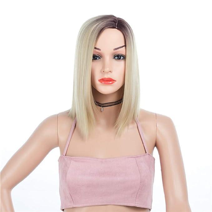 Moda Para Mujer De Oro Pelo Corto Pelo Sedoso Pelucas De Pelo Natural Recto Traje De Cosplay Para Mujer Peluca Fiesta,Gold-OneSize: Amazon.es: Ropa y ...
