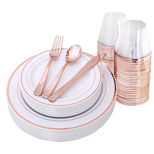 Rose Gold Plates & Plastic Silverware & Rose Gold Cups , Premium Disposable Dinnerware Set 150 Piece Includes: 25 Dinner Plates, 25 Dessert PLates, 25 Tumblers , 25 Forks, 25 Knives, 25 Spoons