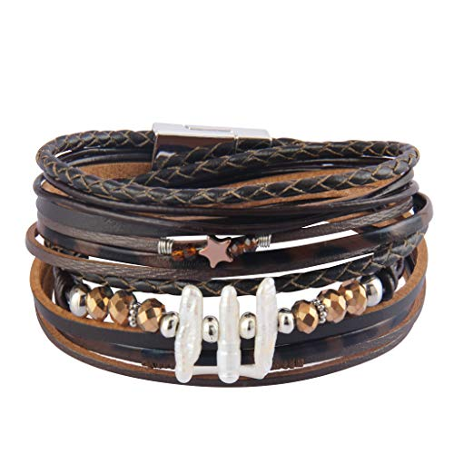 - AZORA Leather Wrap Bracelet for Women Multi Rope Cuff Bracelets with Pearl & Rhinestone Handmade Charm Wristband Gift for Teen Girls Lady (Brown Handmade Cuff Bracelets)