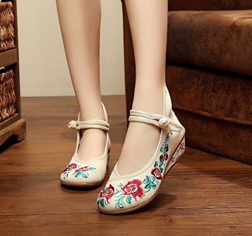 Y&M Zapatos bordados, lino, lenguado, estilo étnico, zapatos femeninos, moda, cómodo, doble fondo beige
